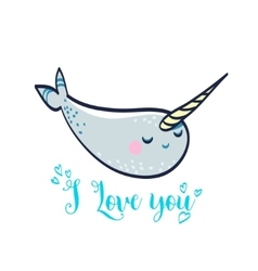 cute card with manatee vector image