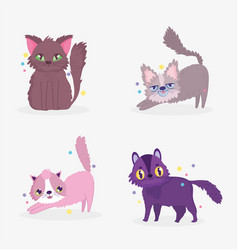 cute cats sitting stretching surprised domestic vector image