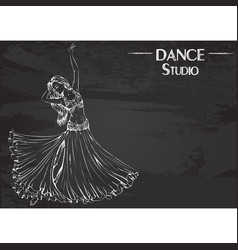 Dance line chalk belly dance vector