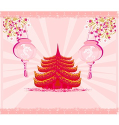 Decorative Chinese landscape card vector image