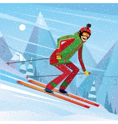 Descent from the mountain on skis vector
