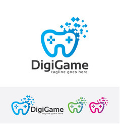 Digital game logo design vector