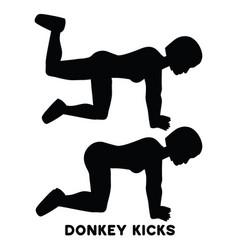 Donkey kicks sport exersice silhouettes of woman vector