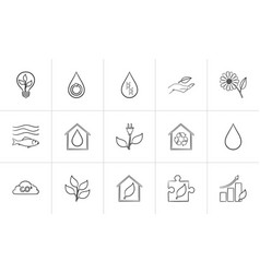 Ecology hand drawn sketch icon set vector
