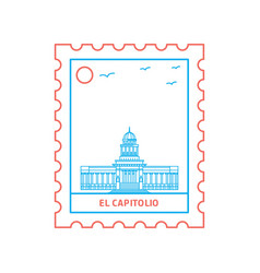 el capitolio postage stamp blue and red line style vector image