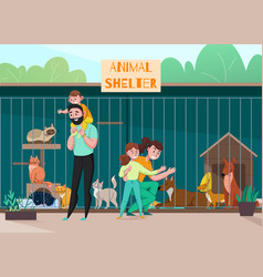 Family animal shelter composition vector