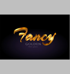 Fancy gold golden text word on purple background vector