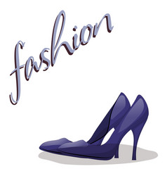 Fashionable woman s shoes blue color and fashion vector
