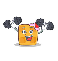 fitness waffle character cartoon design vector image