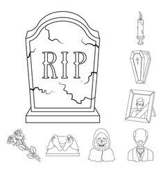 funeral ceremony outline icons in set collection vector image
