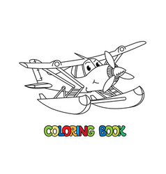 Funny hydroplane with eyes airplane coloring book vector