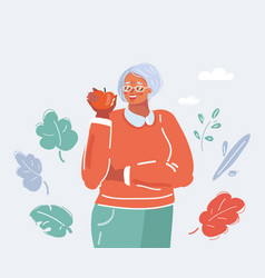 grandmother eat apple on white vector image