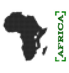 Halftone map of africa and grunge caption with vector