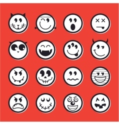 Halloween emoticon icon set collection vector