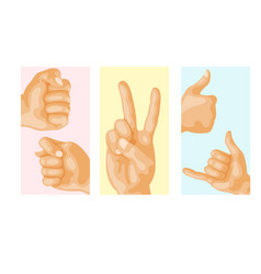 Hands deaf-mute different gestures human layout vector