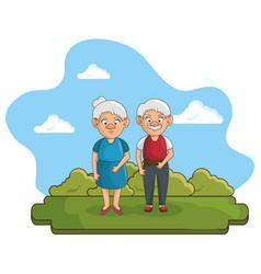 Happy grandparents icon vector