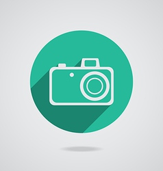 Hipster white photo camera icon element vector image