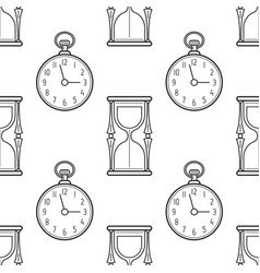 hourglass and pocket watch black and white vector image