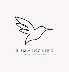 Hummingbird line logo icon designs line art vector