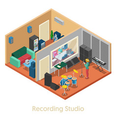 isometric music recording studio interior vector image