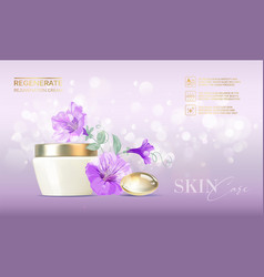 jar cream on bokeh background and flowers of vector image