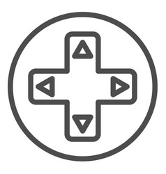 Joystick button with arrows line icon game pad vector