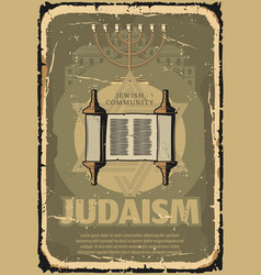 Judaism torah scroll religious symbol retro poster vector