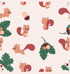 Kawaii squirrels nuts and autumn leaves seamless vector