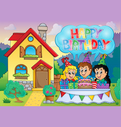 kids party near house 2 vector image