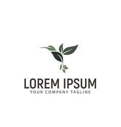 leaf bird logo design concept template vector image