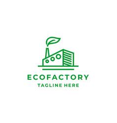 Line art eco factory logo design modern vector