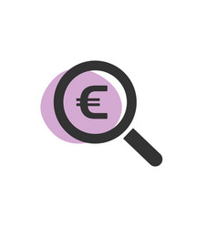 Magnifying glass looking for euro isolated web vector
