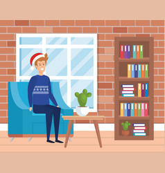 Man with winter clothes in livingroom vector