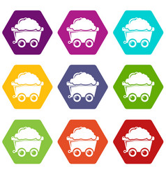mining cart icons set 9 vector image