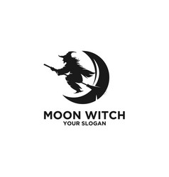 moon witch silhouette logo vector image