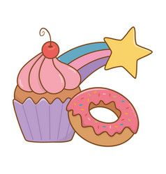 Muffin with donut and shooting star vector