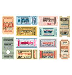 Music concert retro tickets admits templates set vector