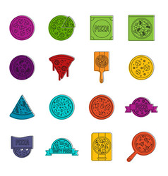 pizza icons doodle set vector image