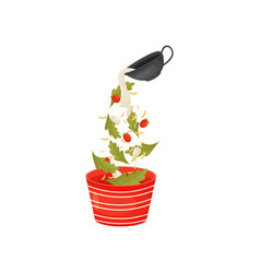 Pour berries and leaves for salad in the vector