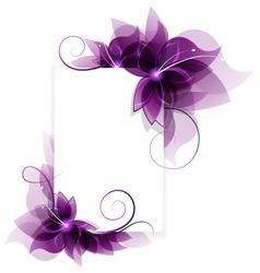 Purple flowers card vector