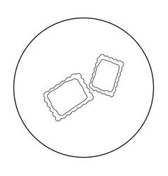 Ravioli pasta icon in outline style isolated on vector