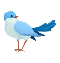 Realistic blue bird looks away Imaginary view vector