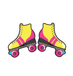 Roller skates pop art icon vector