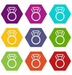 round medal icon set color hexahedron vector image vector image