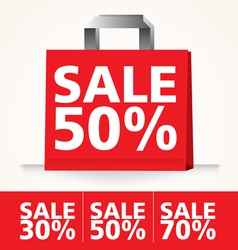 Sale shopping paper red bag set vector