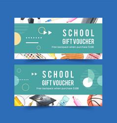 School voucher design with calculator basketball vector
