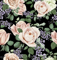 Seamless floral pattern with roses watercolor vector image