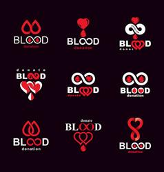 Set blood donation conceptual hematology vector