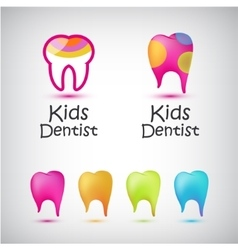set colorful teeth logos kids dentist vector image
