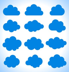 Set of 16 blue clouds vector image